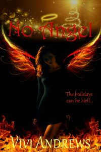 No Angel Cover - Woman walking through fire with fire wings and a halo